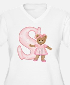 Teddy Alphabet S Pink Women's Plus Size V-Neck Tee