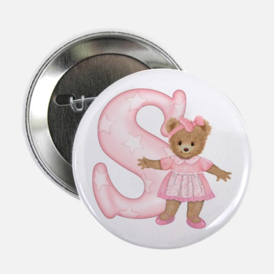 """Teddy Alphabet S Pink 2.25"""" Button"""