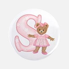 """Teddy Alphabet S Pink 3.5"""" Button"""