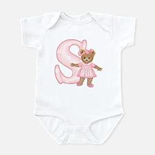 Teddy Alphabet S Pink Infant Bodysuit