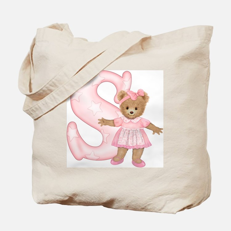Teddy Alphabet S Pink Tote Bag
