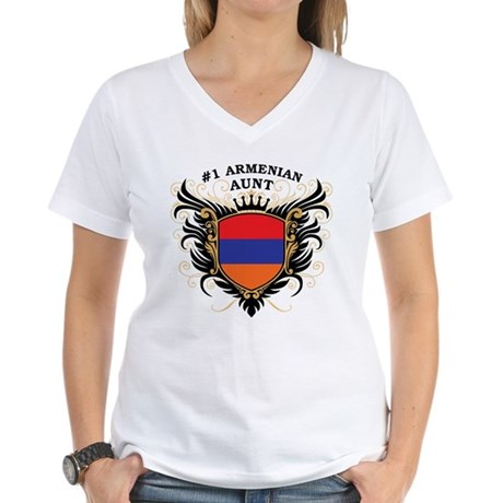 Number One Armenian Aunt Women's V-Neck T-Shirt