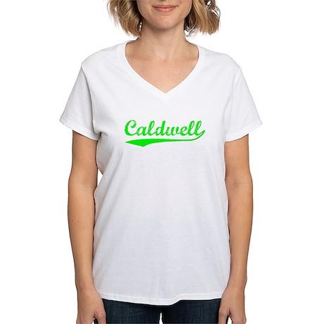 Vintage Caldwell (Green) Women's V-Neck T-Shirt