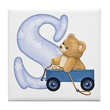 Teddy Alphabet S Blue Tile Coaster