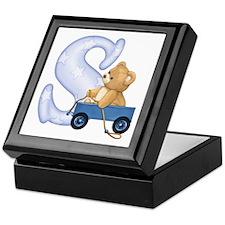 Teddy Alphabet S Blue Keepsake Box
