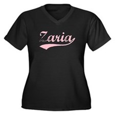 Vintage Zaria (Pink) Women's Plus Size V-Neck Dark