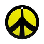 Peace Sign Ornament (yellow/black)