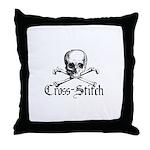 Cross-Stitch - Skull & Crossb Throw Pillow