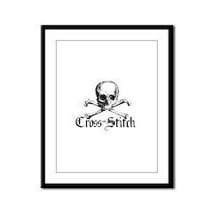 Cross-Stitch - Skull & Crossb Framed Panel Print