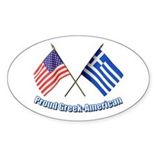 Proud Greek-American Oval Decal