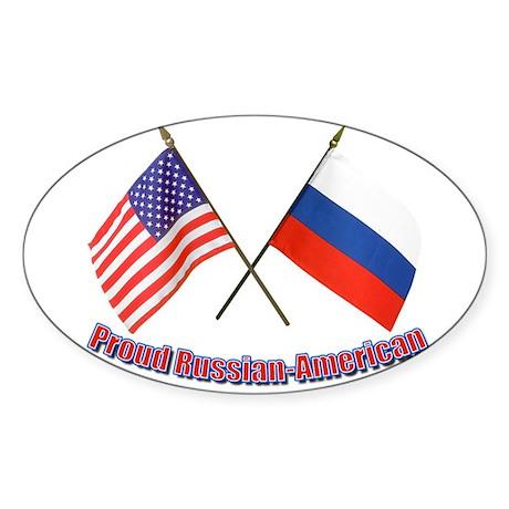 Proud Russian-American Oval Sticker