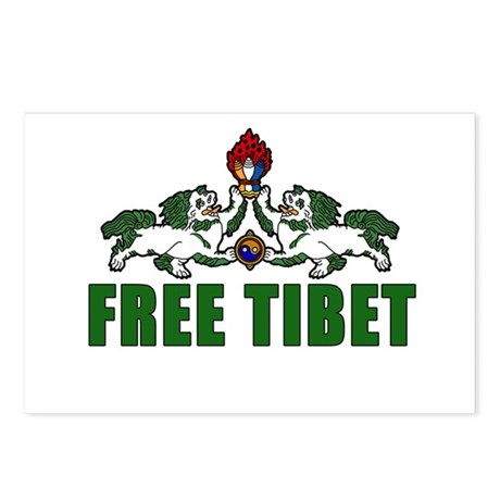 Free Tibet with Lions Postcards (Package of 8)