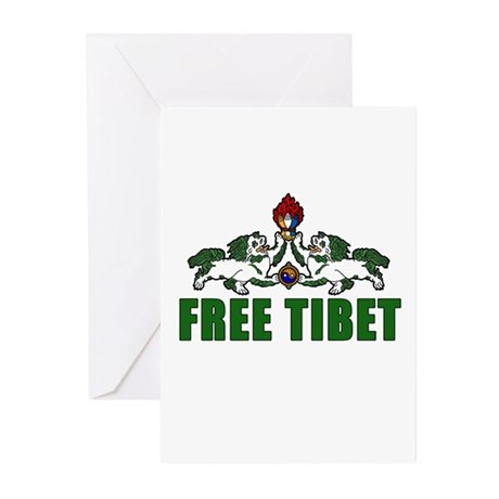 Free Tibet with Lions Greeting Cards (Pk of 10)