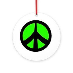 Peace Sign Ornament (green/black)