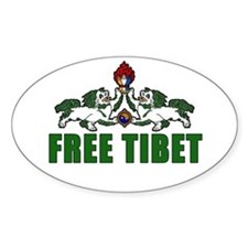 Free Tibet with Lions Oval Decal
