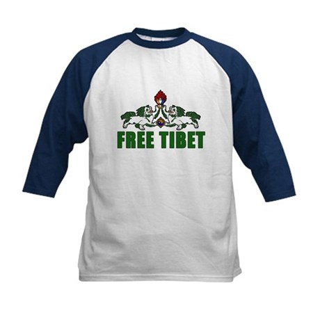 Free Tibet with Lions Kids Baseball Jersey