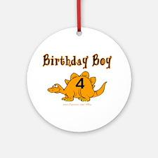 Birthday Boy 4 Dinosaur Ornament (Round)