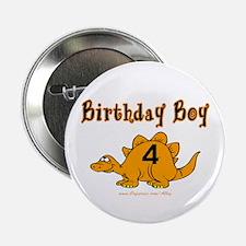 "Birthday Boy 4 Dinosaur 2.25"" Button"