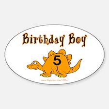 Birthday Boy 5 Dinosaur Oval Decal