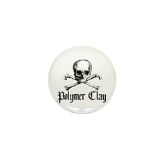 Poymer Clay - Skull & Crossbo Mini Button (10 pack