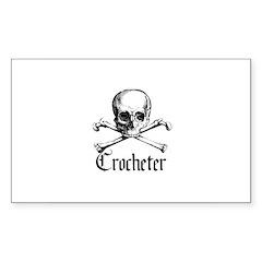 Crocheter - Skull & Crossbone Rectangle Decal