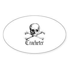 Crocheter - Skull & Crossbone Oval Decal