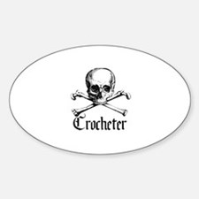 Crocheter - Skull & Crossbone Oval Decal