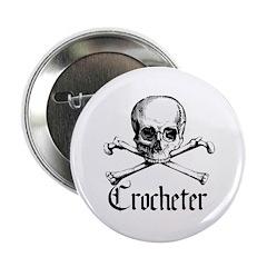 "Crocheter - Skull & Crossbone 2.25"" Button"