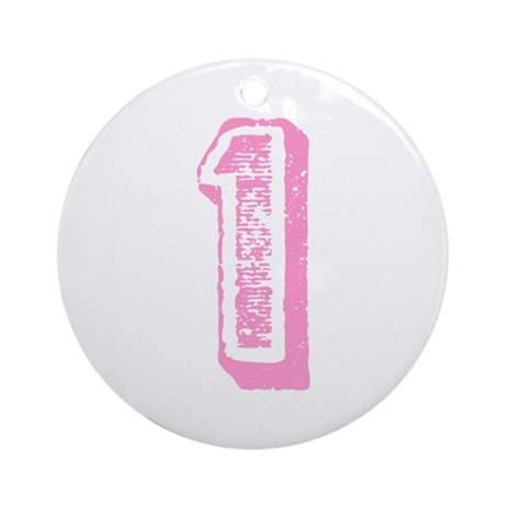 Pink Number 1 Birthday Ornament (Round)
