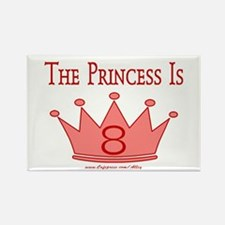 The Princess Is 8 Rectangle Magnet