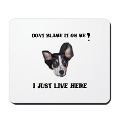 DONT BLAME ME , I JUST LIVE HERE Mousepad