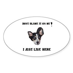 DONT BLAME ME , I JUST LIVE HERE Oval Decal