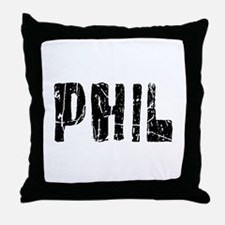 Phil Faded (Black) Throw Pillow