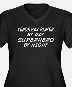 Tenor Sax Plyr Superhero by Night Women's Plus Siz