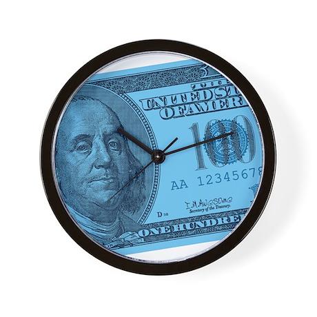 Blue Hundred Dollar Bill Wall Clock