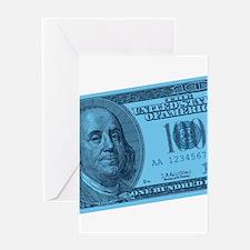 Blue Hundred Dollar Bill Greeting Card