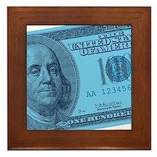 Blue Hundred Dollar Bill Framed Tile