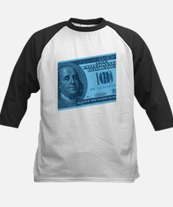 Blue Hundred Dollar Bill Kids Baseball Jersey