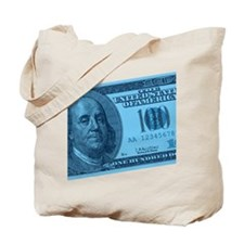Blue Hundred Dollar Bill Tote Bag