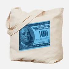 Blue Hundred Dollar Bill Tote Bag