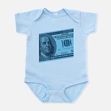 Blue Hundred Dollar Bill Infant Bodysuit