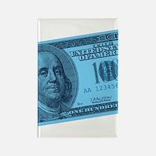 Blue Hundred Dollar Bill Rectangle Magnet