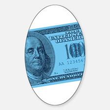 Blue Hundred Dollar Bill Oval Decal