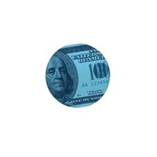 Blue Hundred Dollar Bill Mini Button
