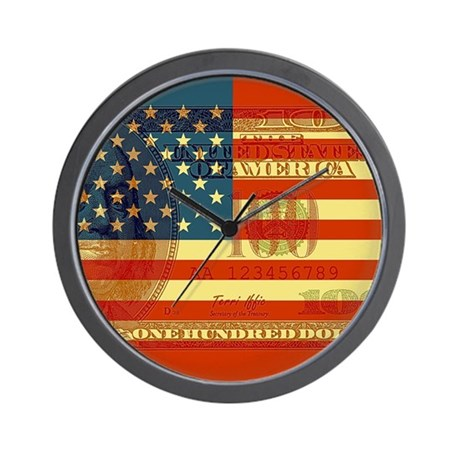 Flag with Hundred Dollar Bill Wall Clock