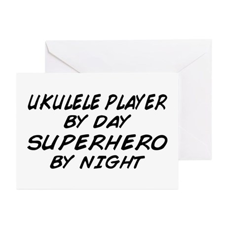 Ukulele Plyr Superhero by Night Greeting Cards (Pk
