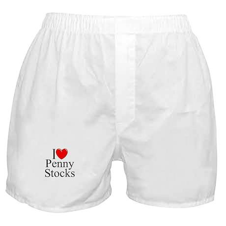 """""""I Love (Heart) Penny Stocks"""" Boxer Shorts"""