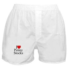 """I Love (Heart) Penny Stocks"" Boxer Shorts"