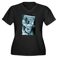 Snowflake 3 Women's Plus Size V-Neck Dark T-Shirt