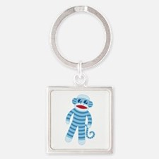 Blue Sock Monkey Square Keychain